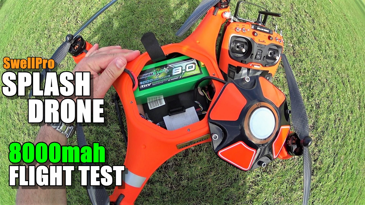 SwellPro Waterproof SPLASH DRONE Review – Part 5 – [8000mah LiHV Battery Upgrade Flight Time Test]