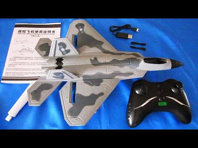 Flybear FX822 F 22 Raptor Stabilized Two Channel RC Airplane Flight Test Review