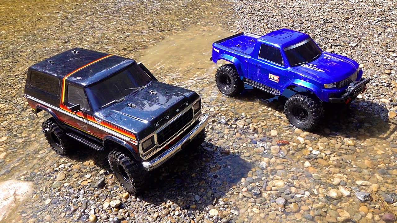 RC ADVENTURES – NEW DRIVER MOE's 2nd Trail Run with DAD!  Bronco and Ranger..  Traxxas TRX4