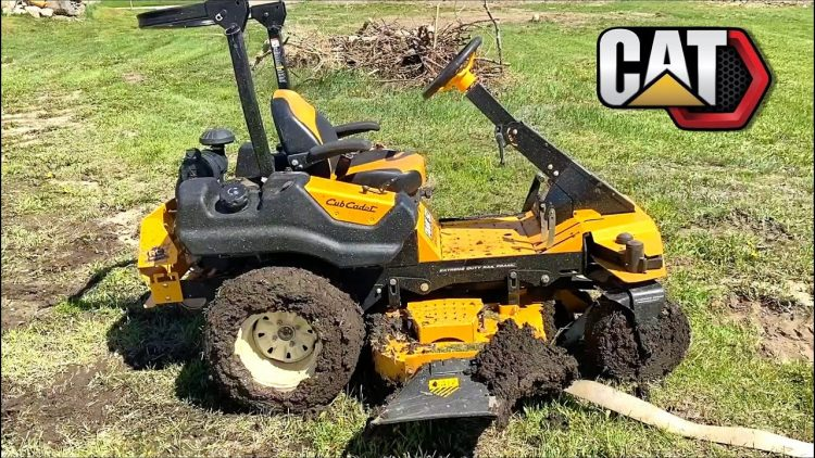 "MAN PULLS CUB CADET Z-Mower out of DEEP MUD – Uses FULL SIZE ""RC TOY"" CAT SKiD STEER 