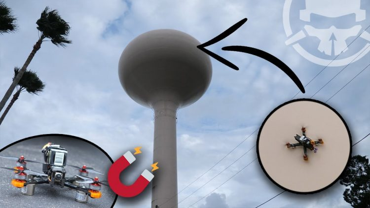 We Stuck a Drone on a Water Tower! – MAGNET DRONE!!